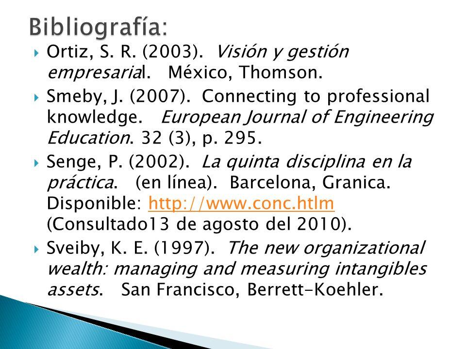 Ortiz, S. R. (2003). Visión y gestión empresarial. México, Thomson. Smeby, J. (2007). Connecting to professional knowledge. European Journal of Engine