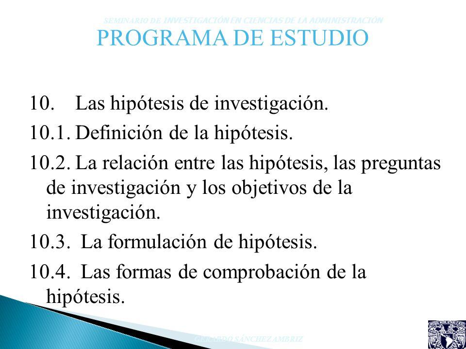 PROGRAMA DE ESTUDIO 10. Las hipótesis de investigación. 10.1. Definición de la hipótesis. 10.2. La relación entre las hipótesis, las preguntas de inve