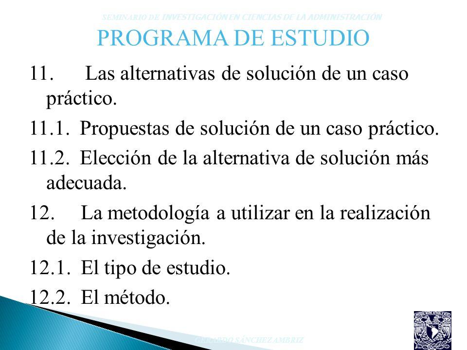 PROGRAMA DE ESTUDIO 11. Las alternativas de solución de un caso práctico. 11.1. Propuestas de solución de un caso práctico. 11.2. Elección de la alter