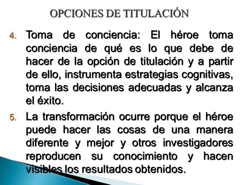 OPCIONES DE TITULACIÓN 4. Toma de conciencia: El héroe toma conciencia de qué es lo que debe de hacer de la opción de titulación y a partir de ello, i
