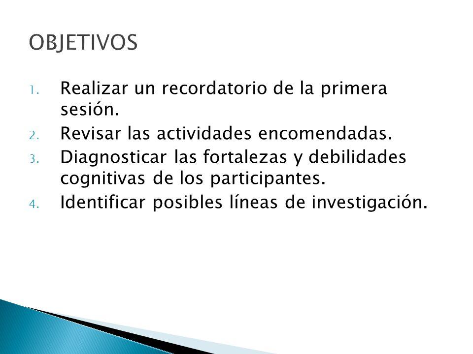 1. Realizar un recordatorio de la primera sesión. 2. Revisar las actividades encomendadas. 3. Diagnosticar las fortalezas y debilidades cognitivas de