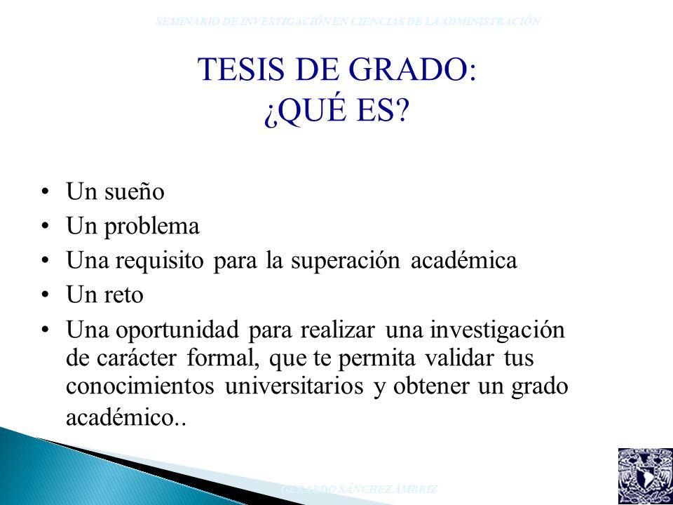 TESIS DE GRADO: ¿QUÉ ES? Un sueño Un problema Una requisito para la superación académica Un reto Una oportunidad para realizar una investigación de ca