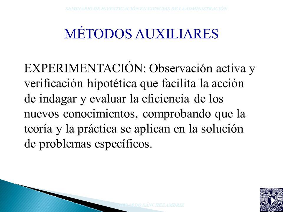 EXPERIMENTACIÓN: Observación activa y verificación hipotética que facilita la acción de indagar y evaluar la eficiencia de los nuevos conocimientos, c