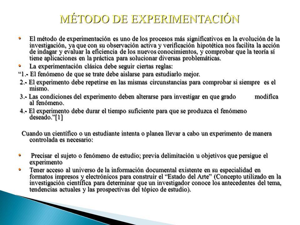 MÉTODO DE EXPERIMENTACIÓN El método de experimentación es uno de los procesos más significativos en la evolución de la investigación, ya que con su ob