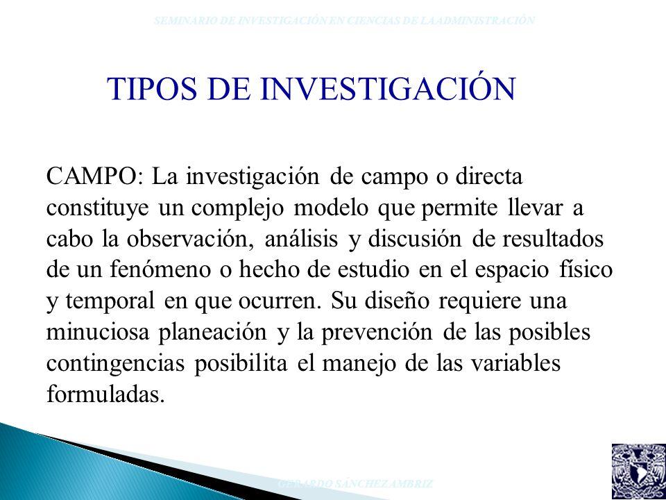 TIPOS DE INVESTIGACIÓN SEMINARIO DE INVESTIGACIÓN EN CIENCIAS DE LA ADMINISTRACIÓN GERARDO SÁNCHEZ AMBRIZ CAMPO: La investigación de campo o directa c