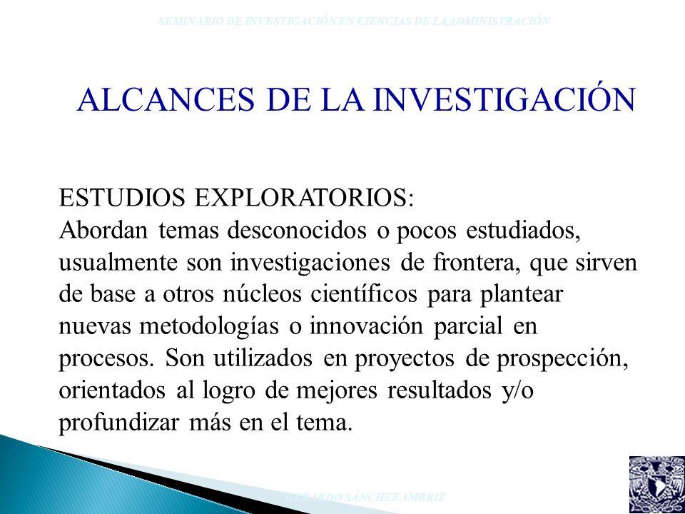 ALCANCES DE LA INVESTIGACIÓN SEMINARIO DE INVESTIGACIÓN EN CIENCIAS DE LA ADMINISTRACIÓN GERARDO SÁNCHEZ AMBRIZ ESTUDIOS EXPLORATORIOS: Abordan temas