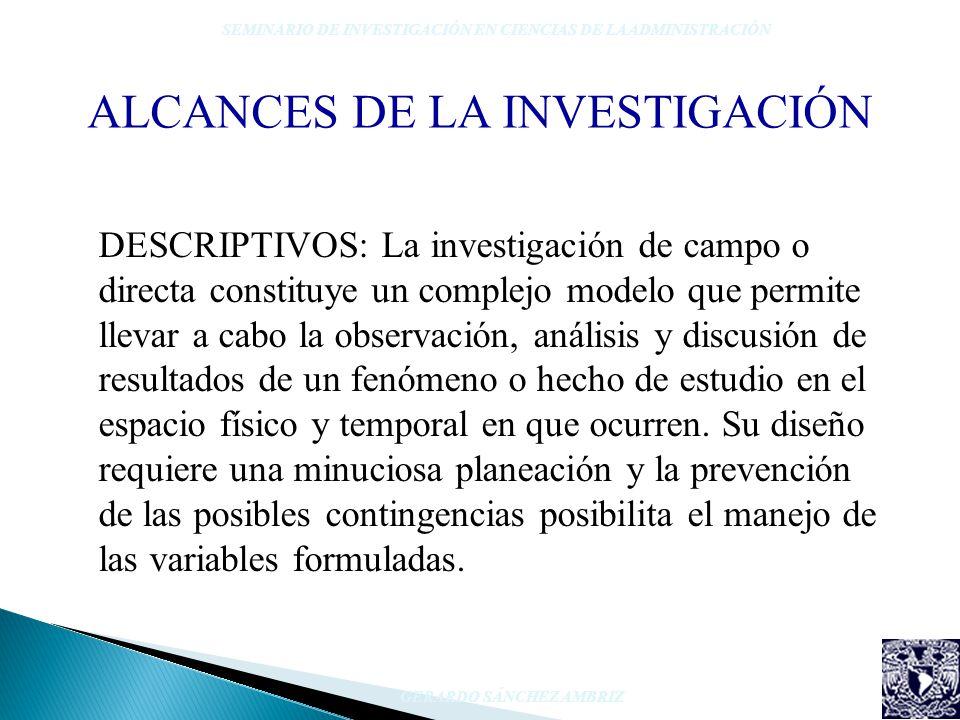 ALCANCES DE LA INVESTIGACIÓN SEMINARIO DE INVESTIGACIÓN EN CIENCIAS DE LA ADMINISTRACIÓN GERARDO SÁNCHEZ AMBRIZ DESCRIPTIVOS: La investigación de camp