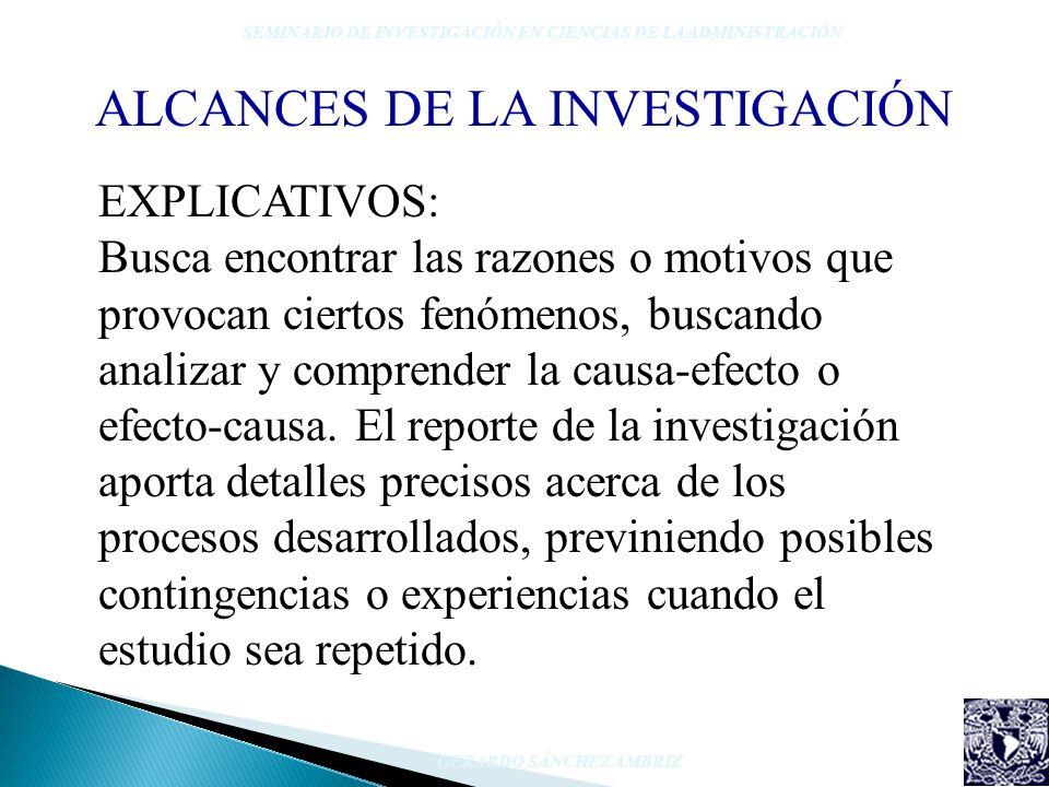EXPLICATIVOS: Busca encontrar las razones o motivos que provocan ciertos fenómenos, buscando analizar y comprender la causa-efecto o efecto-causa. El