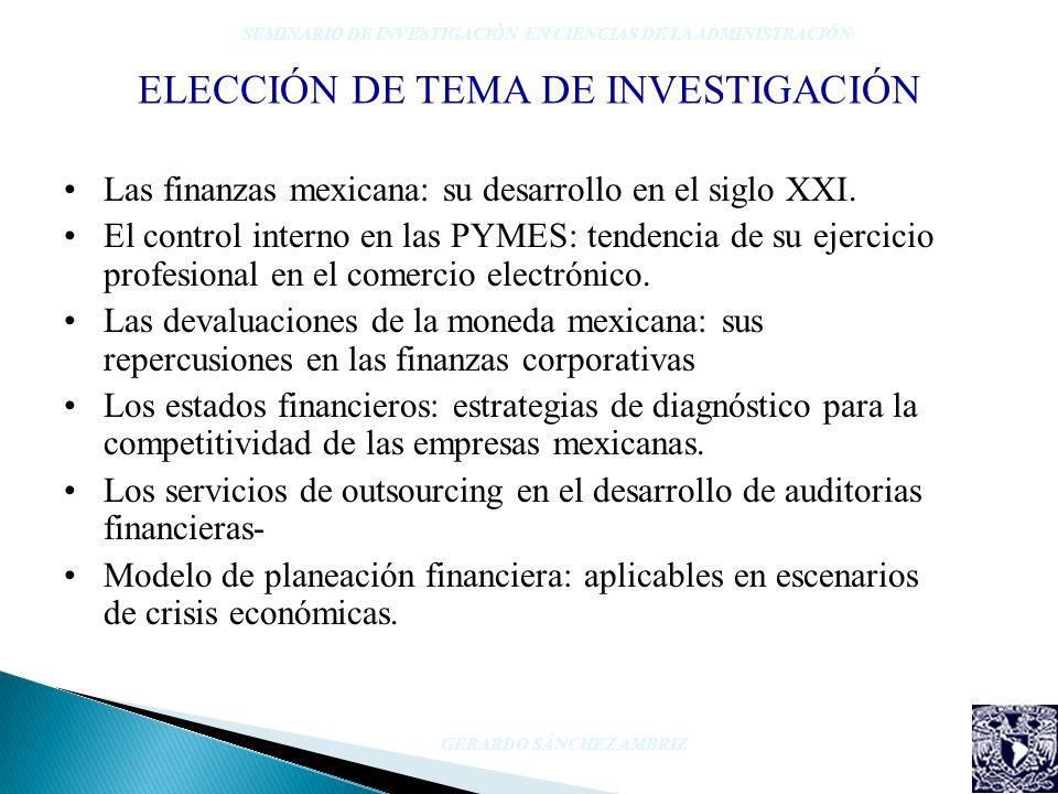 ELECCIÓN DE TEMA DE INVESTIGACIÓN Las finanzas mexicana: su desarrollo en el siglo XXI. El control interno en las PYMES: tendencia de su ejercicio pro