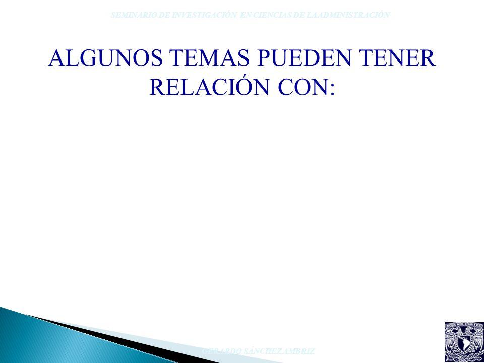 ALGUNOS TEMAS PUEDEN TENER RELACIÓN CON: SEMINARIO DE INVESTIGACIÓN EN CIENCIAS DE LA ADMINISTRACIÓN GERARDO SÁNCHEZ AMBRIZ