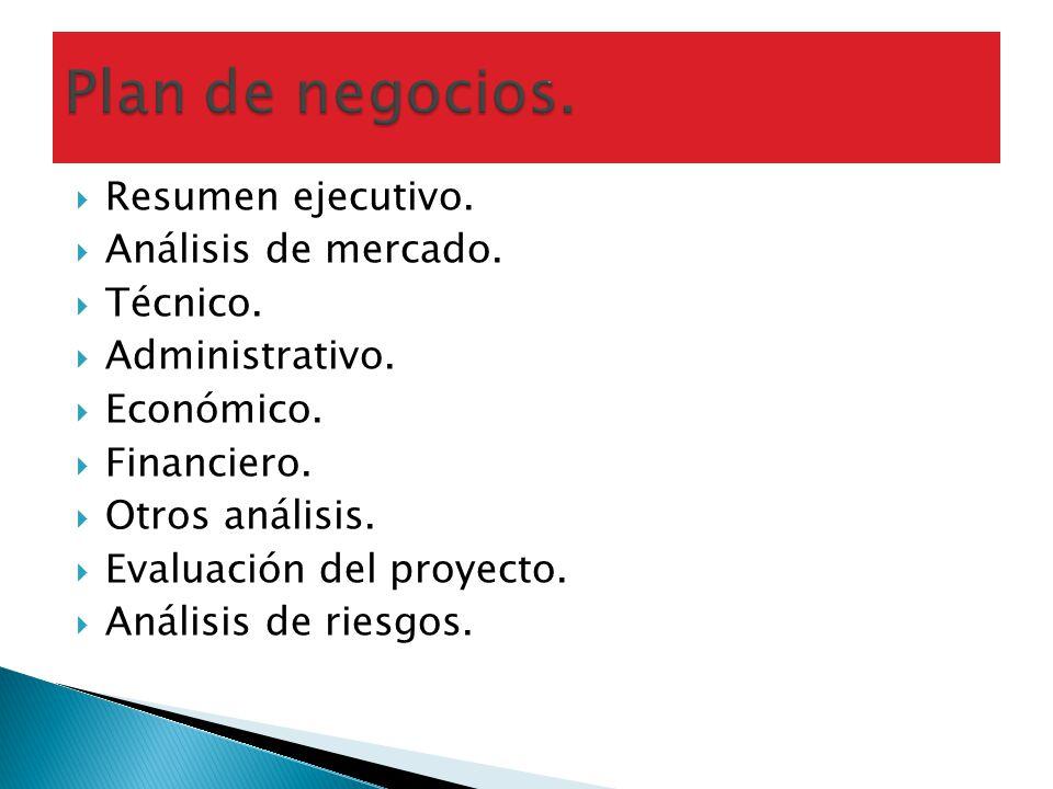 Resumen ejecutivo. Análisis de mercado. Técnico. Administrativo. Económico. Financiero. Otros análisis. Evaluación del proyecto. Análisis de riesgos.