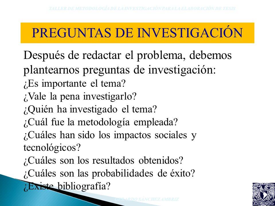 Después de redactar el problema, debemos plantearnos preguntas de investigación: ¿Es importante el tema? ¿Vale la pena investigarlo? ¿Quién ha investi