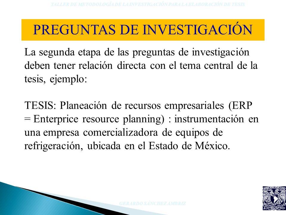 La segunda etapa de las preguntas de investigación deben tener relación directa con el tema central de la tesis, ejemplo: TESIS: Planeación de recurso