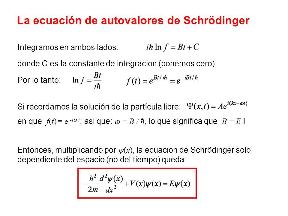Integramos en ambos lados: donde C es la constante de integracion (ponemos cero). Por lo tanto: Si recordamos la solución de la partícula libre: en qu