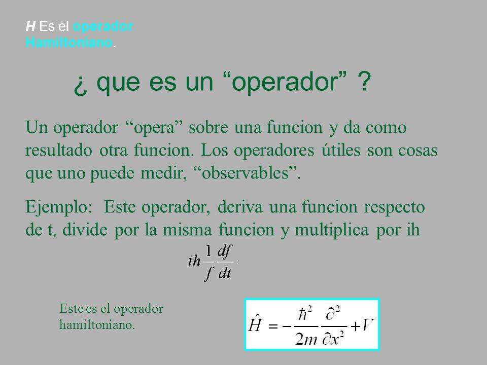 H Es el operador Hamiltoniano. ¿ que es un operador ? Un operador opera sobre una funcion y da como resultado otra funcion. Los operadores útiles son