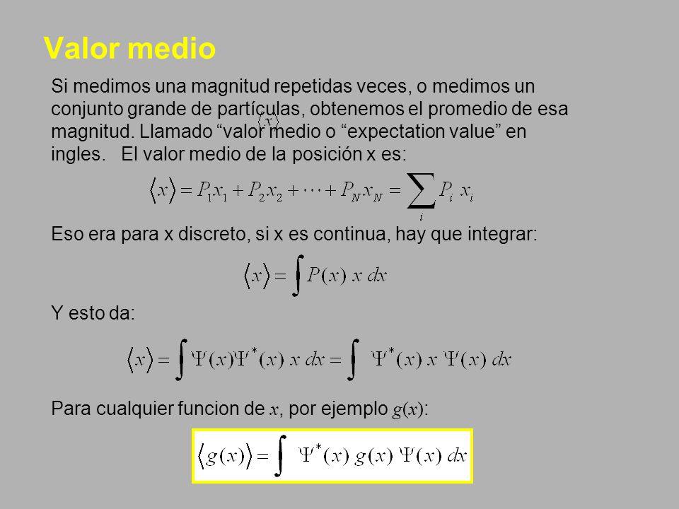 Valor medio Si medimos una magnitud repetidas veces, o medimos un conjunto grande de partículas, obtenemos el promedio de esa magnitud. Llamado valor