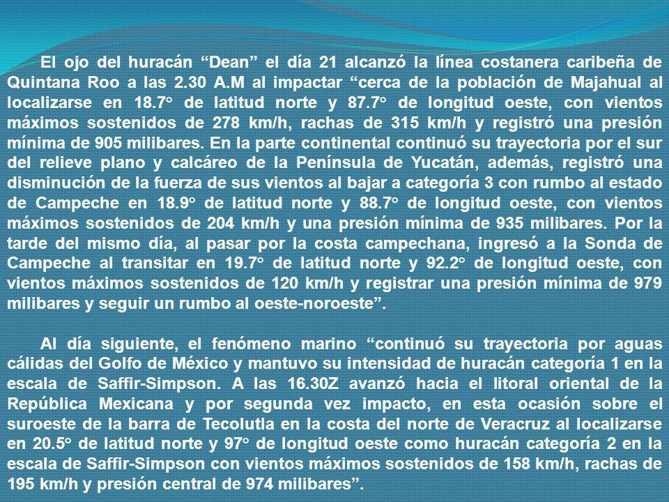 El ojo del huracán Dean el día 21 alcanzó la línea costanera caribeña de Quintana Roo a las 2.30 A.M al impactar cerca de la población de Majahual al