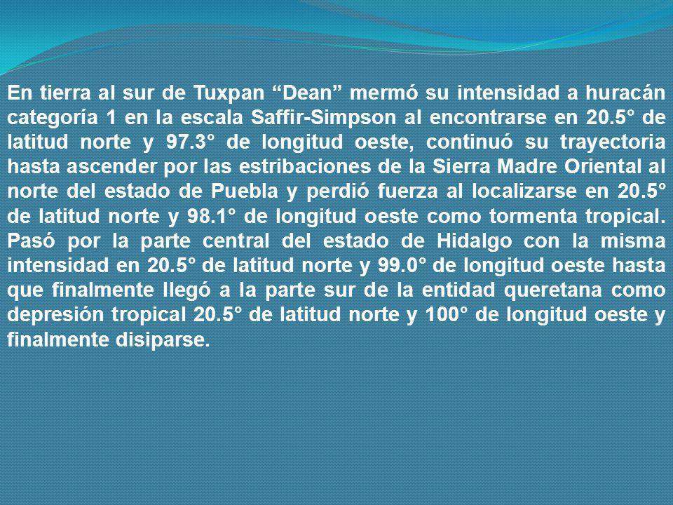 En tierra al sur de Tuxpan Dean mermó su intensidad a huracán categoría 1 en la escala Saffir-Simpson al encontrarse en 20.5° de latitud norte y 97.3°