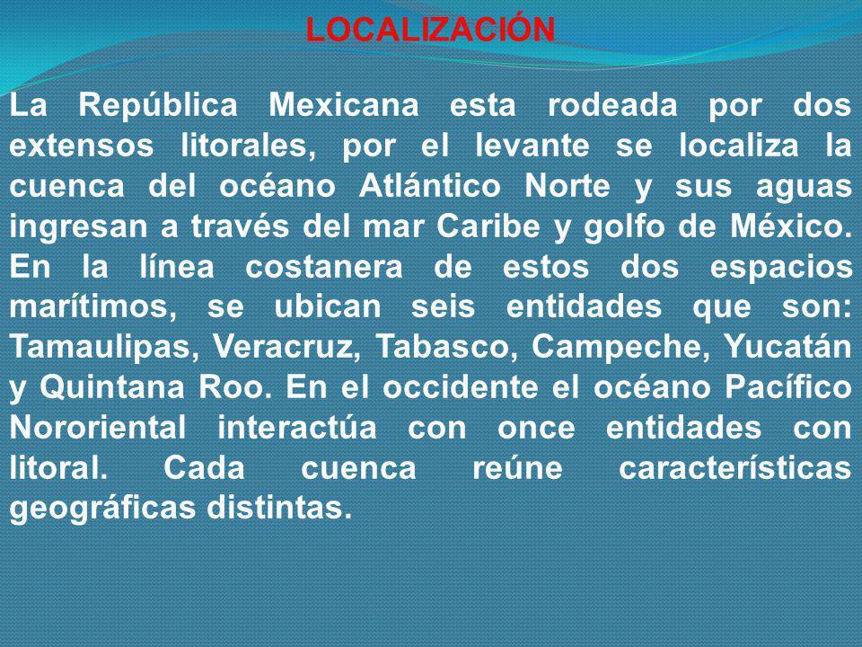La República Mexicana esta rodeada por dos extensos litorales, por el levante se localiza la cuenca del océano Atlántico Norte y sus aguas ingresan a