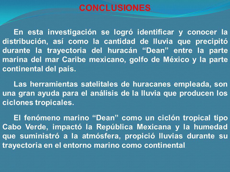 En esta investigación se logró identificar y conocer la distribución, así como la cantidad de lluvia que precipitó durante la trayectoria del huracán
