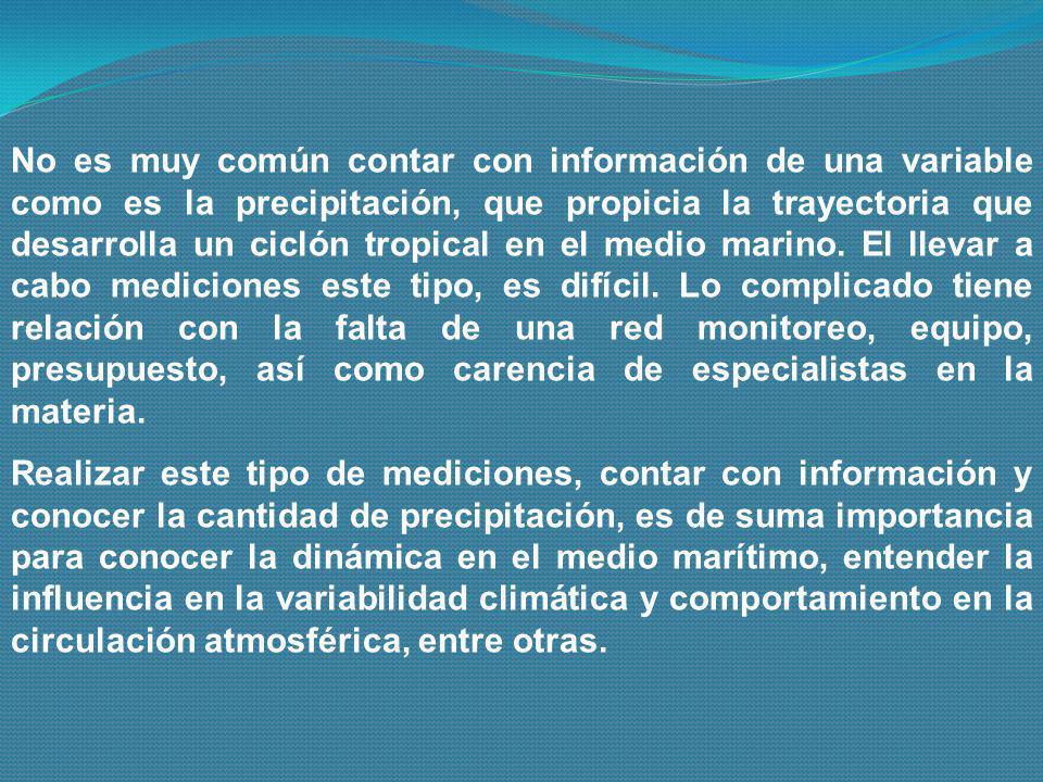 No es muy común contar con información de una variable como es la precipitación, que propicia la trayectoria que desarrolla un ciclón tropical en el m