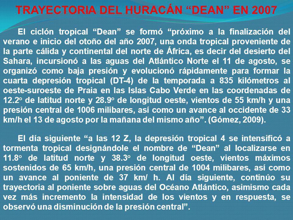 El ciclón tropical Dean se formó próximo a la finalización del verano e inicio del otoño del año 2007, una onda tropical proveniente de la parte cálid