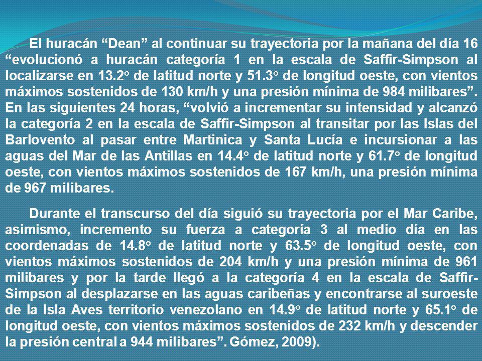 El huracán Dean al continuar su trayectoria por la mañana del día 16 evolucionó a huracán categoría 1 en la escala de Saffir-Simpson al localizarse en