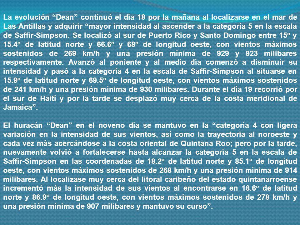 El ojo del huracán Dean el día 21 alcanzó la línea costanera caribeña de Quintana Roo a las 2.30 A.M al impactar cerca de la población de Majahual al localizarse en 18.7° de latitud norte y 87.7° de longitud oeste, con vientos máximos sostenidos de 278 km/h, rachas de 315 km/h y registró una presión mínima de 905 milibares.