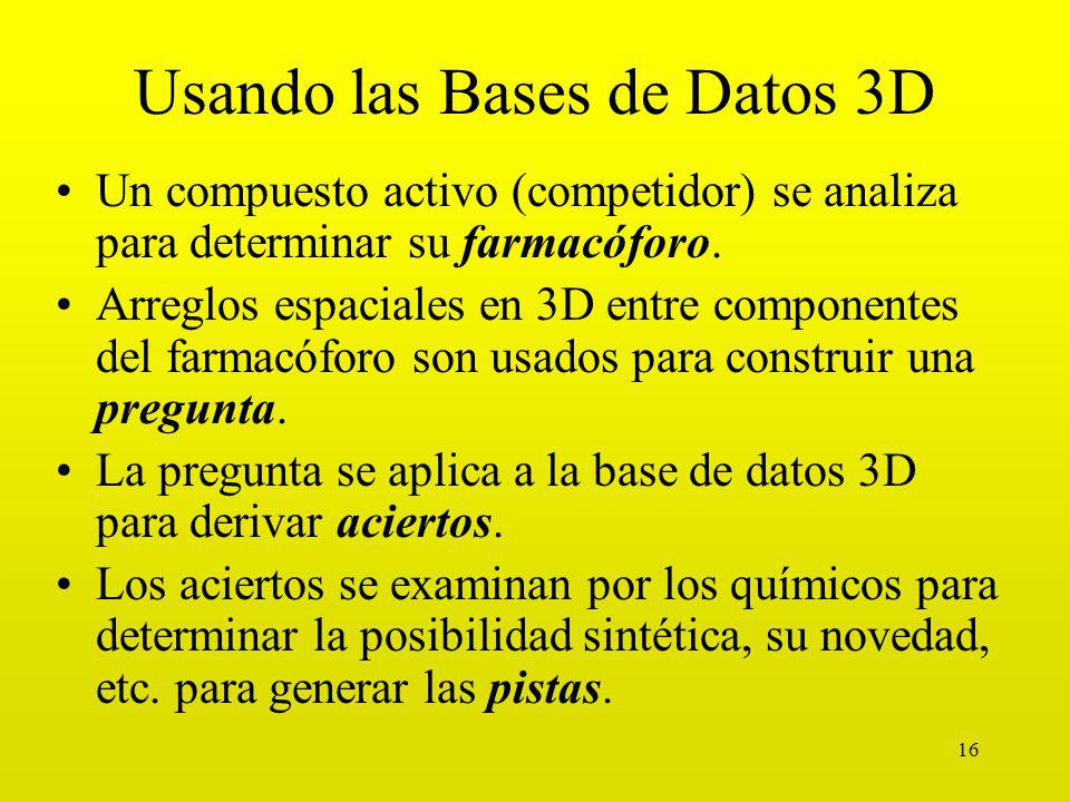 16 Usando las Bases de Datos 3D Un compuesto activo (competidor) se analiza para determinar su farmacóforo.