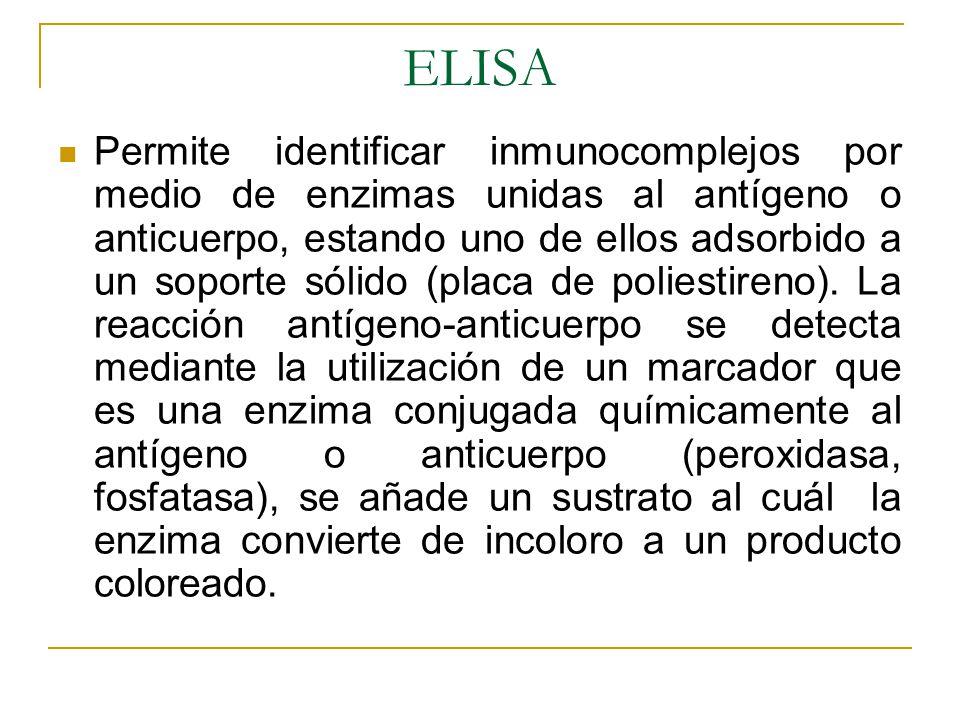 ELISA Permite identificar inmunocomplejos por medio de enzimas unidas al antígeno o anticuerpo, estando uno de ellos adsorbido a un soporte sólido (pl