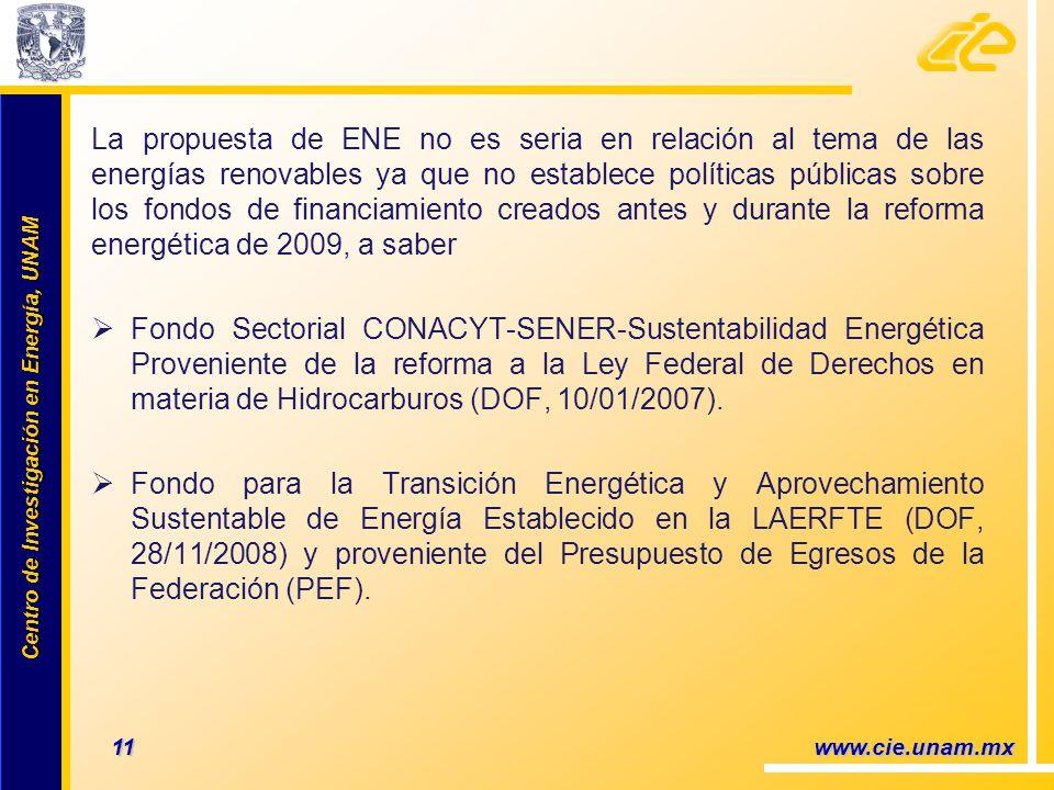Centro de Investigación en Energía, UNAM Centro de Investigación en Energía, UNAM La propuesta de ENE no es seria en relación al tema de las energías renovables ya que no establece políticas públicas sobre los fondos de financiamiento creados antes y durante la reforma energética de 2009, a saber Fondo Sectorial CONACYT-SENER-Sustentabilidad Energética Proveniente de la reforma a la Ley Federal de Derechos en materia de Hidrocarburos (DOF, 10/01/2007).