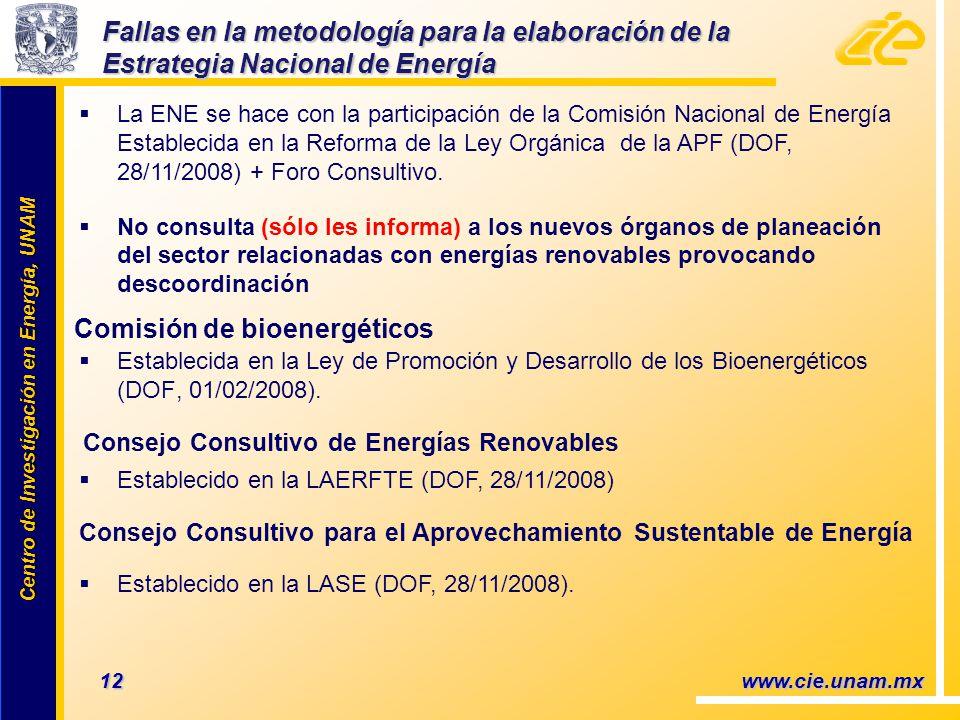 Centro de Investigación en Energía, UNAM Centro de Investigación en Energía, UNAM 12 www.cie.unam.mx Establecida en la Ley de Promoción y Desarrollo de los Bioenergéticos (DOF, 01/02/2008).