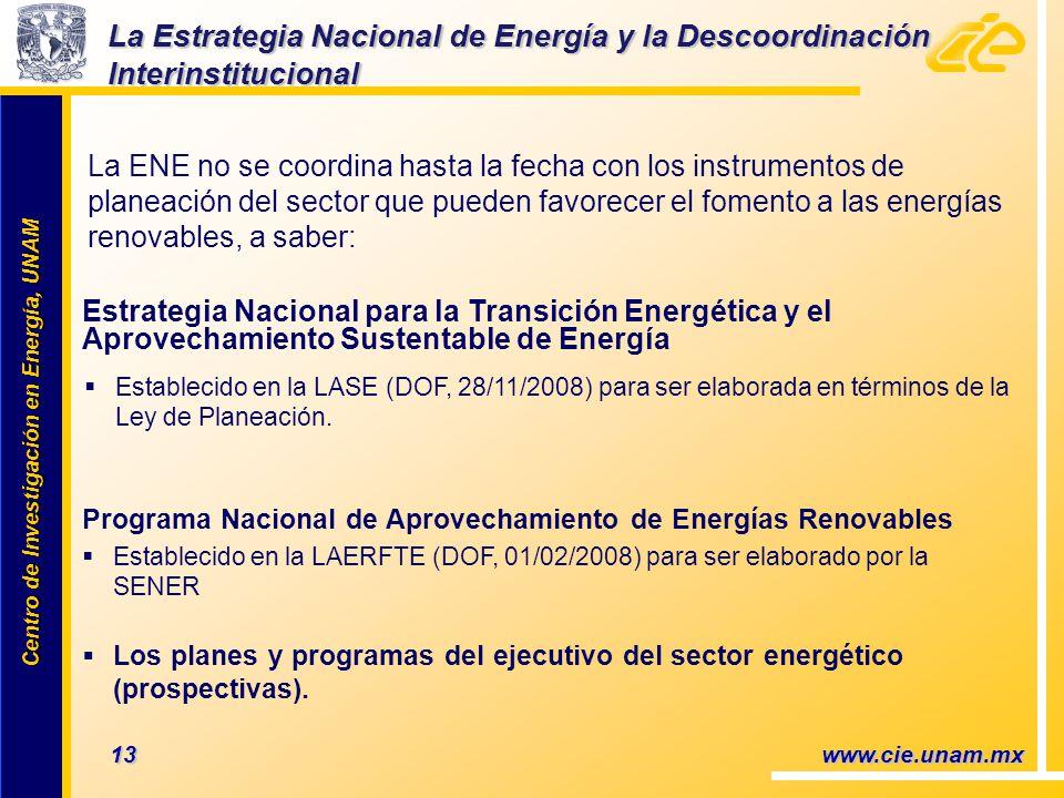 Centro de Investigación en Energía, UNAM Centro de Investigación en Energía, UNAM La ENE no se coordina hasta la fecha con los instrumentos de planeación del sector que pueden favorecer el fomento a las energías renovables, a saber: 13 www.cie.unam.mx Estrategia Nacional para la Transición Energética y el Aprovechamiento Sustentable de Energía Programa Nacional de Aprovechamiento de Energías Renovables Establecido en la LAERFTE (DOF, 01/02/2008) para ser elaborado por la SENER Los planes y programas del ejecutivo del sector energético (prospectivas).