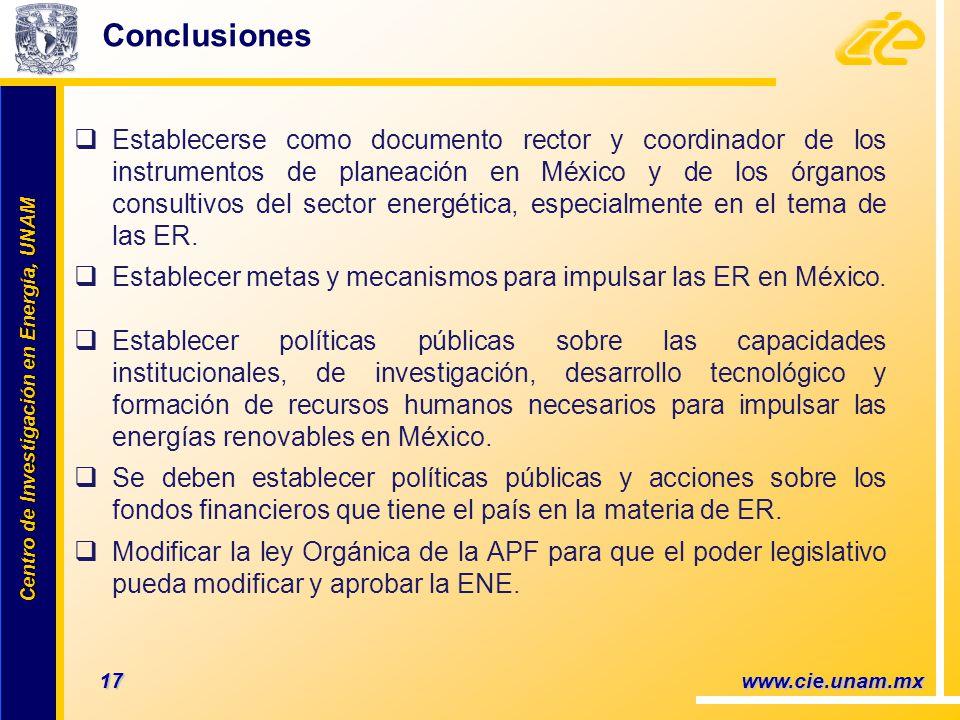 Centro de Investigación en Energía, UNAM Centro de Investigación en Energía, UNAM 17 www.cie.unam.mx Conclusiones Establecerse como documento rector y coordinador de los instrumentos de planeación en México y de los órganos consultivos del sector energética, especialmente en el tema de las ER.