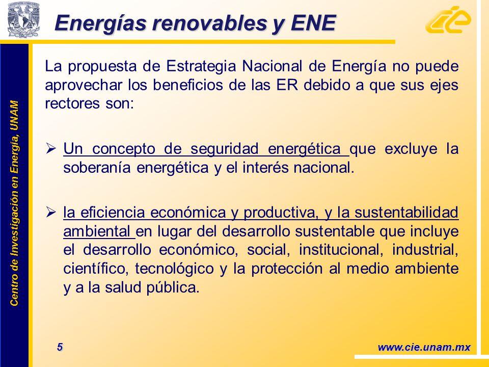Centro de Investigación en Energía, UNAM Centro de Investigación en Energía, UNAM Energías renovables y ENE La propuesta de Estrategia Nacional de Energía no puede aprovechar los beneficios de las ER debido a que sus ejes rectores son: Un concepto de seguridad energética que excluye la soberanía energética y el interés nacional.
