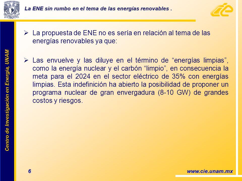 Centro de Investigación en Energía, UNAM Centro de Investigación en Energía, UNAM La propuesta de ENE no es sería en relación al tema de las energías renovables ya que: Las envuelve y las diluye en el término de energías limpias, como la energía nuclear y el carbón limpio, en consecuencia la meta para el 2024 en el sector eléctrico de 35% con energías limpias.