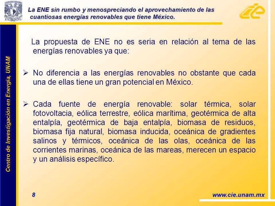 Centro de Investigación en Energía, UNAM Centro de Investigación en Energía, UNAM La propuesta de ENE no es seria en relación al tema de las energías renovables ya que: No diferencia a las energías renovables no obstante que cada una de ellas tiene un gran potencial en México.
