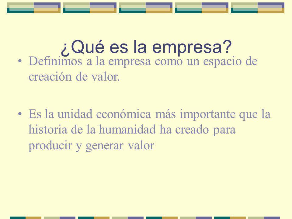 ¿Qué es la empresa? Definimos a la empresa como un espacio de creación de valor. Es la unidad económica más importante que la historia de la humanidad