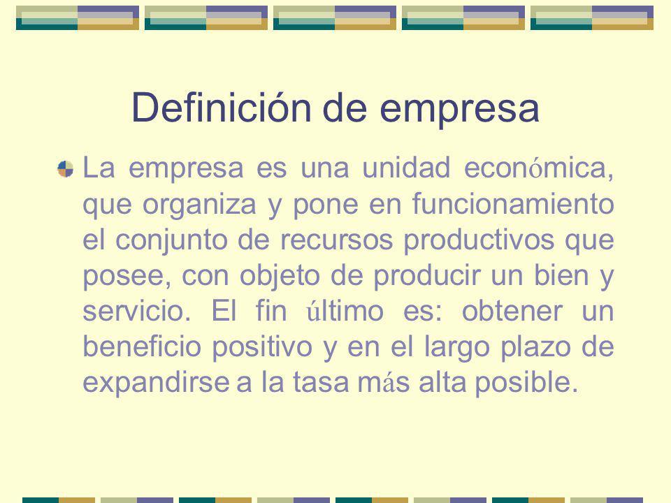 Definición de empresa La empresa es una unidad econ ó mica, que organiza y pone en funcionamiento el conjunto de recursos productivos que posee, con objeto de producir un bien y servicio.