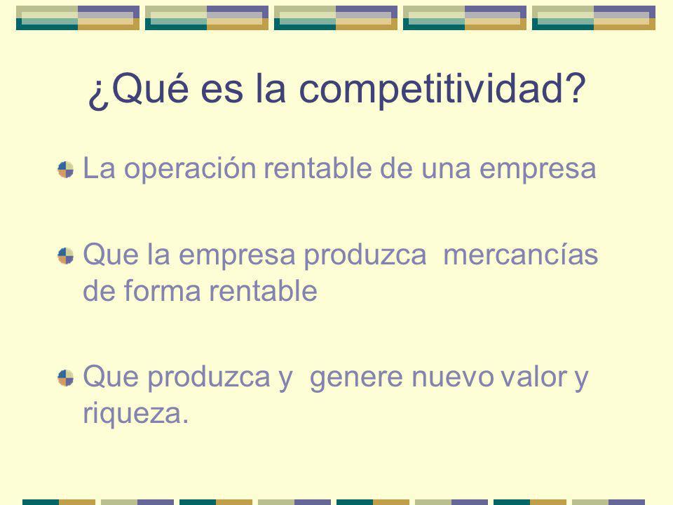 ¿Qué es la competitividad? La operación rentable de una empresa Que la empresa produzca mercancías de forma rentable Que produzca y genere nuevo valor