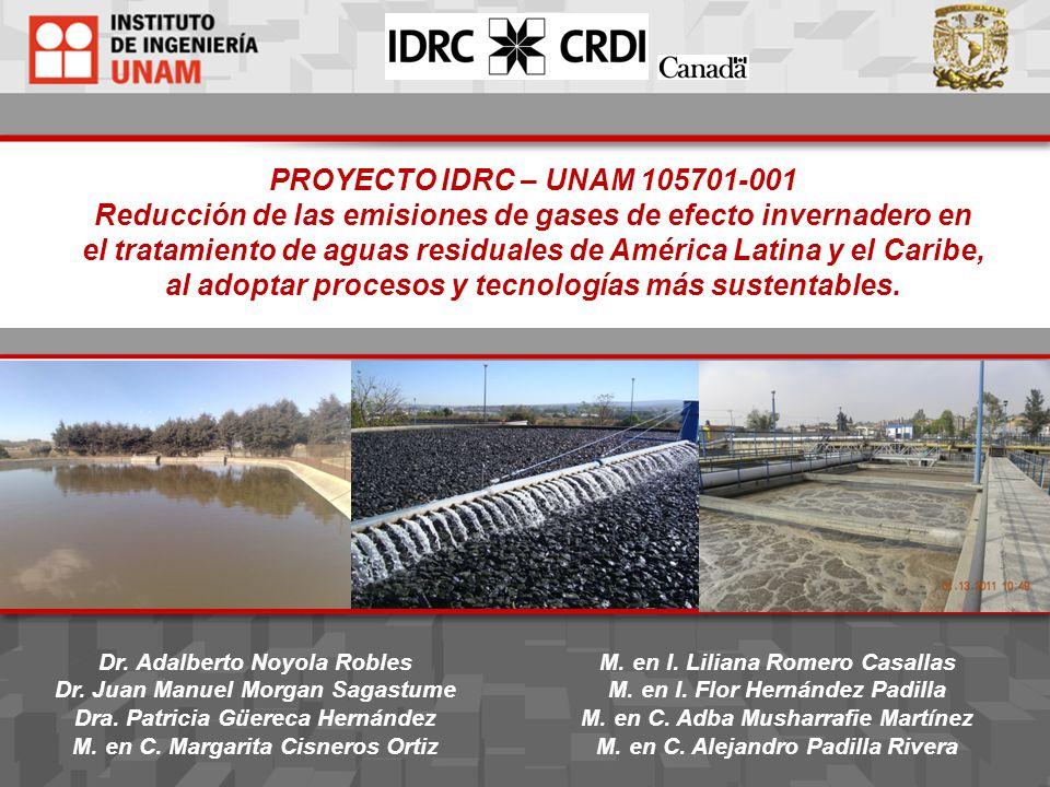 PROYECTO IDRC – UNAM 105701-001 Reducción de las emisiones de gases de efecto invernadero en el tratamiento de aguas residuales de América Latina y el