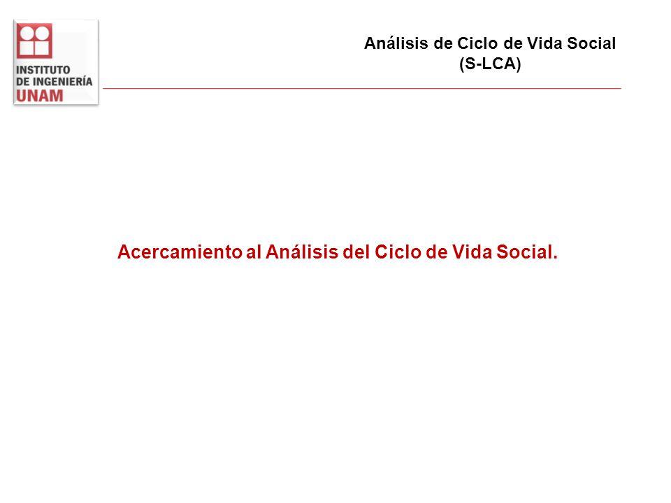 Análisis de Ciclo de Vida Social (S-LCA) Acercamiento al Análisis del Ciclo de Vida Social.