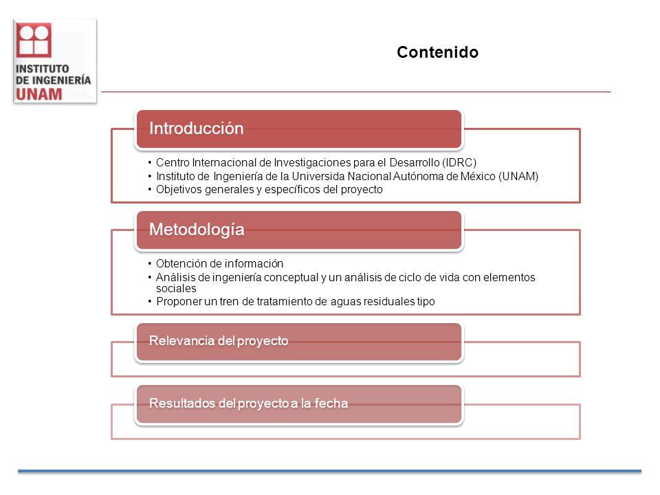 Contenido Centro Internacional de Investigaciones para el Desarrollo (IDRC) Instituto de Ingeniería de la Universida Nacional Autónoma de México (UNAM