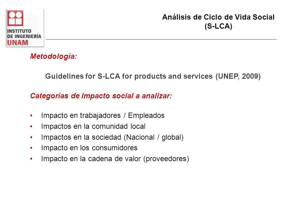 Metodología: Guidelines for S-LCA for products and services (UNEP, 2009) Categorías de Impacto social a analizar: Impacto en trabajadores / Empleados