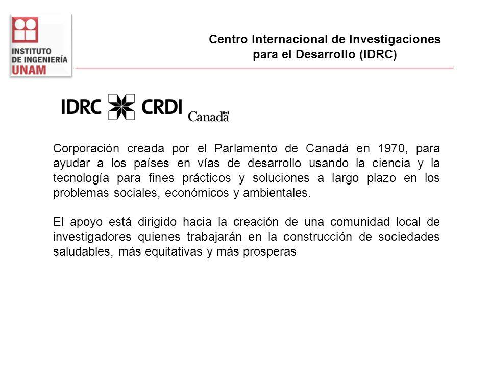 Centro Internacional de Investigaciones para el Desarrollo (IDRC) Corporación creada por el Parlamento de Canadá en 1970, para ayudar a los países en