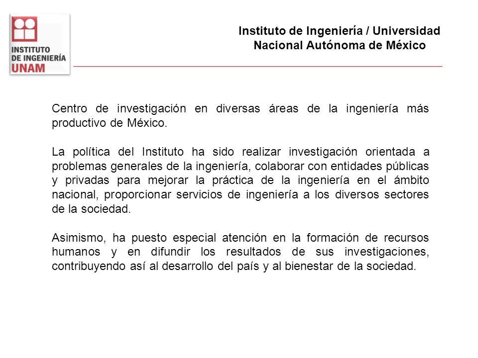 Instituto de Ingeniería / Universidad Nacional Autónoma de México Centro de investigación en diversas áreas de la ingeniería más productivo de México.