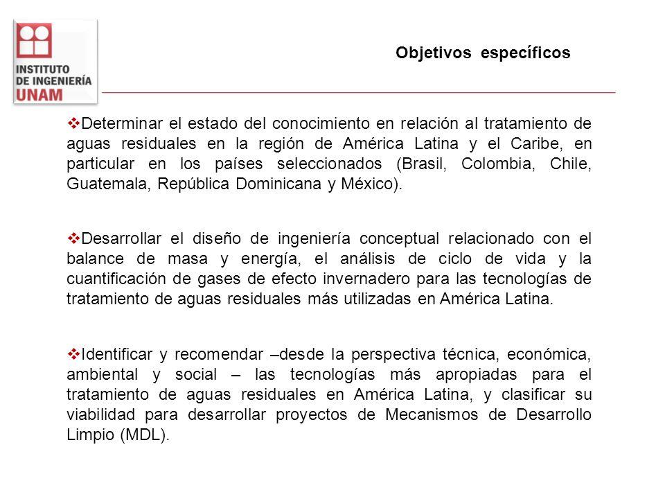 Objetivos específicos Determinar el estado del conocimiento en relación al tratamiento de aguas residuales en la región de América Latina y el Caribe,