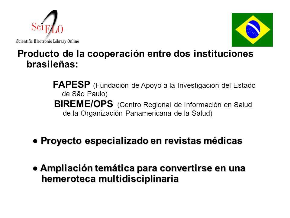 Producto de la cooperación entre dos instituciones brasileñas: FAPESP (Fundación de Apoyo a la Investigación del Estado de São Paulo) Proyecto especializado en revistas médicas Ampliación temática para convertirse en una hemeroteca multidisciplinaria BIREME/OPS (Centro Regional de Información en Salud de la Organización Panamericana de la Salud)