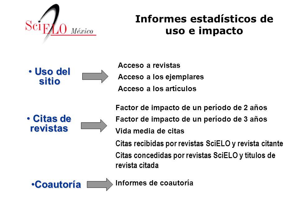 Informes de coautoría Factor de impacto de un período de 2 años Factor de impacto de un período de 3 años Vida media de citas Citas recibidas por revi