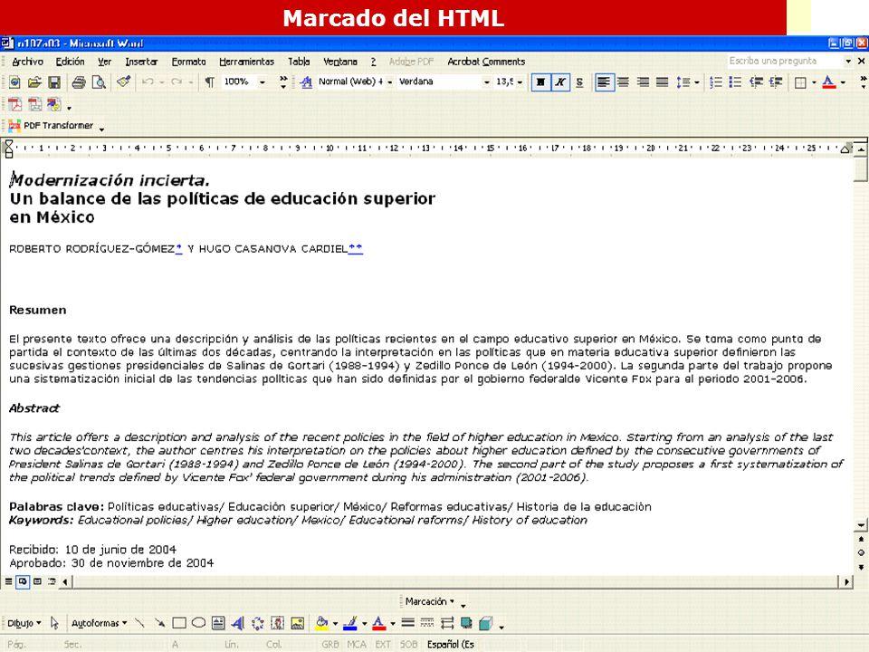 Marcado del HTML